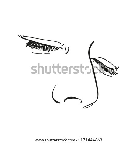 Sketch Woman Eyes Closed Nose Hand Stock Vector Royalty Free