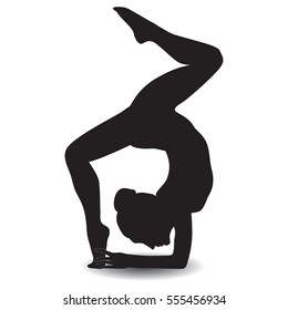 sketch woman gymnast handstand on a white background design element for sports yoga dance vector