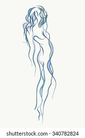 sketch of a woman with lines  blue haze