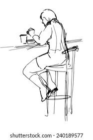 Sketch of  woman at the lunch in cafe