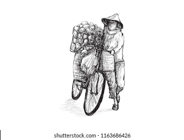 Sketch of a woman seller on bicycle in Saigon, Vietnam