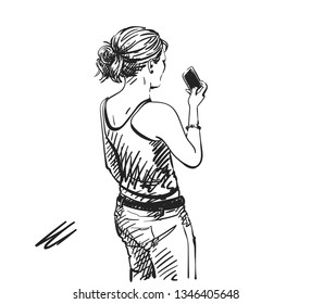 Sketch of woman taking photo with smart phone, Back view, Hand drawn illustration