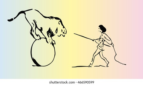 sketch of a woman trainer of wild animals, circus artist in the arena with a lion