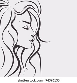 Sketch woman vector - Day dreaming girl with long hair