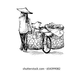 sketch of woman walking with a bicycle in Hanoi Vietnam, illustration vector