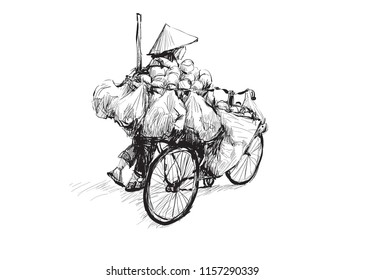 Sketch of woman walking with a bicycle seller in Ho Chi Minh city Vietnam