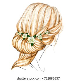 The Sketch of a Women's Fashion Hairstyle with Hairband and Roses. Vector Illustration of Antique Style Updo. Vintage Wedding Accessories. Freehand Drawing. Long Blonde Hair. Young Beautiful Woman.