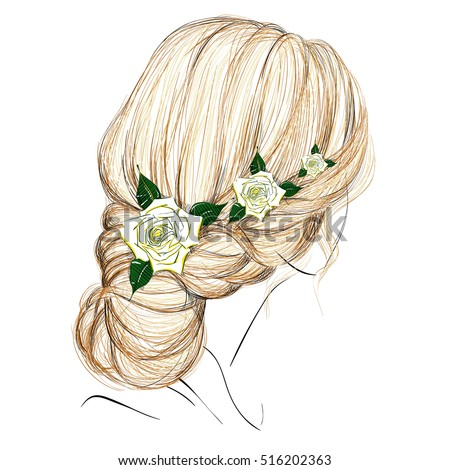 Sketch Womens Fashion Hairstyle White Roses Stock Vector Royalty