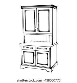 Sketch wood cupboard 3d isolated in the style of Provence. Classical furniture for kitchen. Vector illustrations on a white background.