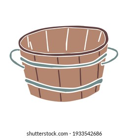 Sketch of a wooden bathtub with metal hoops and handles. Sauna equipment. Vector element for the design.