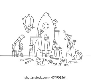 Sketch of working little people with big rocket. Doodle cute miniature scene of workers with startup concept. Hand drawn cartoon vector illustration for business design and infographic.