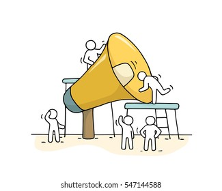 Sketch of working little people with big loudspeaker. Doodle cute miniature scene of workers with megaphone. Hand drawn cartoon vector illustration for business design and infographic.