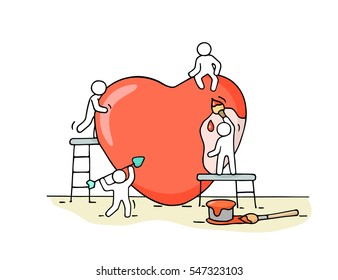 Sketch of working little people with big love sign. Doodle cute miniature scene of workers about heart building. Hand drawn cartoon vector illustration.