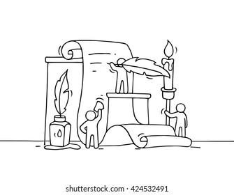 Sketch of working little people with document. Doodle cute miniature of teamwork. Hand drawn cartoon vector illustration for business and education design .