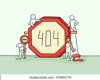Sketch of working little people with error sign 404. Doodle cute miniature scene of workers with web page symbol. Hand drawn cartoon vector illustration for internet design.
