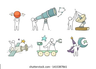 Sketch of working little people with flying lamp idea. Doodle cute miniature scene of creative workers. Hand drawn cartoon vector illustration for business design and infographic.