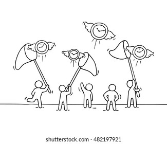 Sketch of working little people with flying clocks. Doodle cute miniature scene of workers trying to catch timer. Hand drawn cartoon vector illustration for business design.