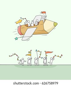 Sketch of working little people with flying pencil. Doodle cute miniature scene of creative workers. Hand drawn cartoon vector illustration for business design and infographic.