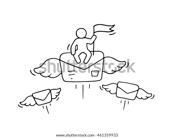 Sketch of working little people with flying letter. Doodle cute miniature scene about post. Hand drawn cartoon vector illustration for business design and infographic.