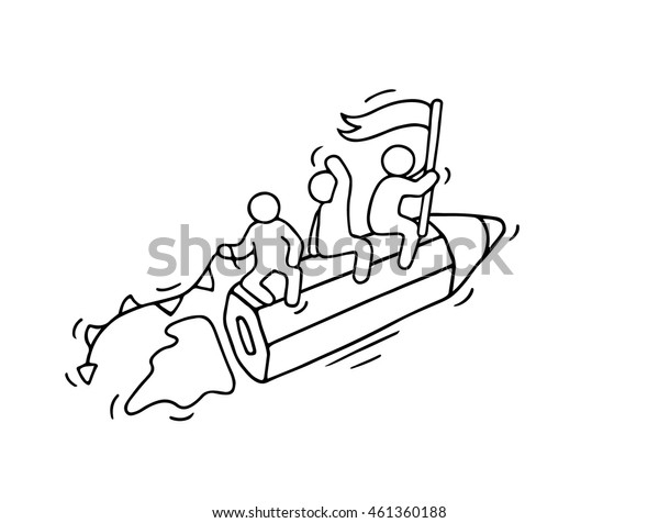 Sketch of working little people with flying pencil. Doodle cute miniature scene of workers. Hand drawn cartoon vector illustration for business and school design.