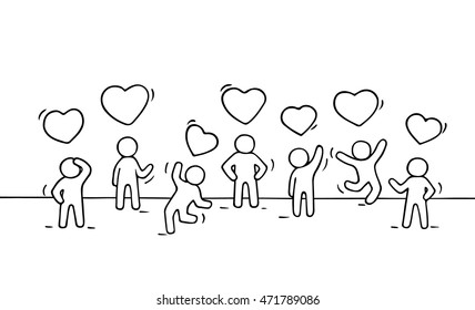 Sketch of working little people with heart signs. Doodle cute miniature scene of relationships. Hand drawn cartoon vector illustration for business and romantic design.