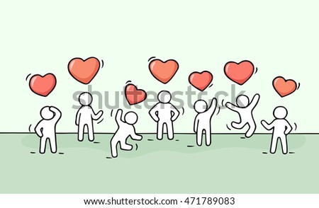 sketch working little people heart signs stock vector royalty free