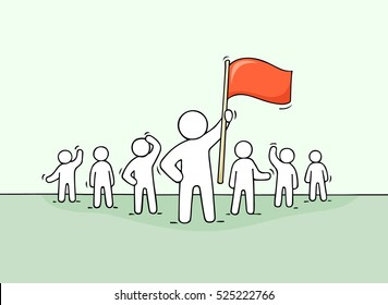 Sketch of working little people and leader with flag. Doodle cute concept about teamwork about leadership. Hand drawn cartoon vector illustration for business design.