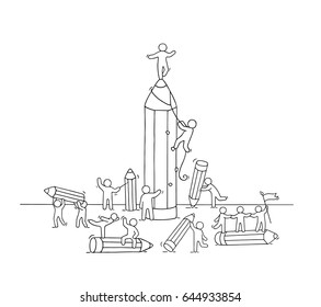 Sketch of working little people with many pencils. Doodle cute miniature scene of workers. Hand drawn cartoon vector illustration for education and business design.