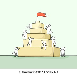 Sketch of working little people with pyramide. Doodle cute miniature scene of workers about leadership. Hand drawn cartoon vector illustration for business design and infographic.