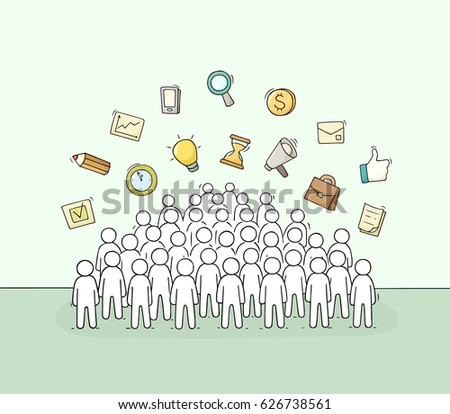 sketch working little people signs doodle stock vector royalty free