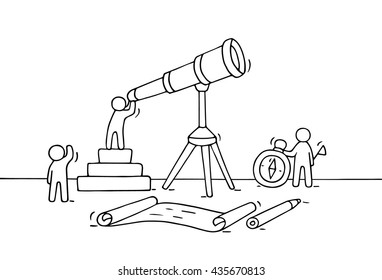 Sketch of working little people with spyglass, teamwork. Doodle cute miniature scene of workers discovery something . Hand drawn cartoon vector illustration for business design and infographic.