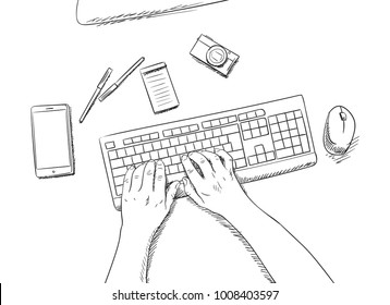 sketch of working place with hands with keyboard, mouse, smartphone, compact photo camera, pens and note paper view from top, Hand drawn illustration on white background