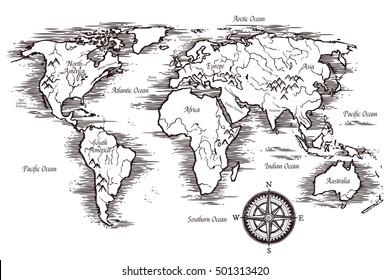 sketch world map template black white stock illustration 752677255