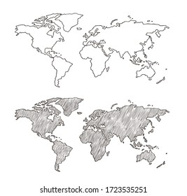 Sketch world map.Vector hand drawn illustration. Earth planet with continents,islands and oceans.