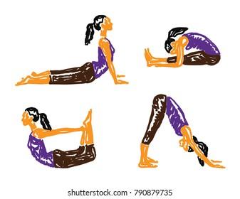 Sketch Yoga Woman in Asanas