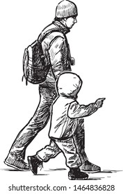 Sketch of a young father with his kid striding down the street