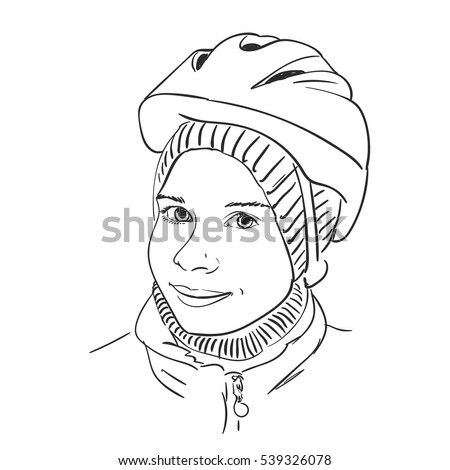 Sketch Young Girl Wearing Bicycle Helmet Stock Vector Royalty Free