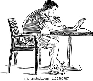 Sketch of a young man working on his laptop