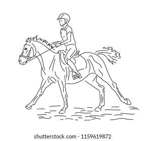 A sketch of a young rider cantering on a pony.