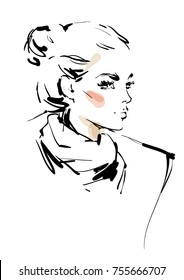 Sketch of a young woman with a scarf
