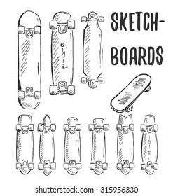 Sketch-Boards! Vector sketches of dif. skateboards