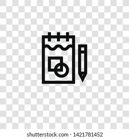 sketchbook icon from design thinking collection for mobile concept and web apps icon. Transparent outline, thin line sketchbook icon for website design and mobile, app development