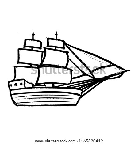 Sketche Ship Sails Stock Vector Royalty Free 1165820419