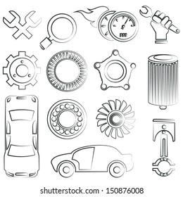 sketched auto part icon, car service