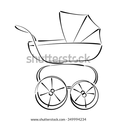 Sketched baby stroller buggy isolated on stock vector royalty free sketched baby stroller buggy isolated on white background design template for label banner maxwellsz