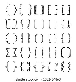 Sketched brackets set. Cute hand drawn brackets graphic elements for design