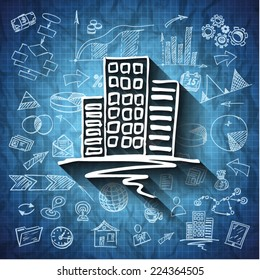 Sketched business blue print background with the building and icons - vector illustration