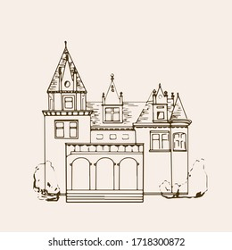 Sketched Castle. Isolated vector illustration.  Palace. Hand drawn linear ink sketch. Black silhouette . Vintage style