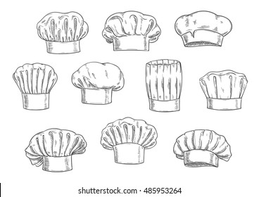Sketched chef hat, cook cap and toque. Kitchen staff uniform, professional headwear for restaurant, cafe and menu design