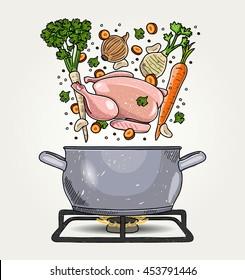 Sketched Chicken Broth Ingredients